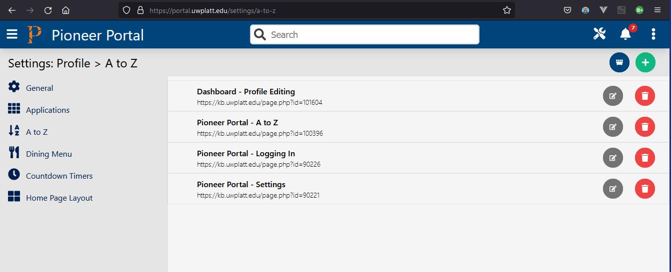 Portal A to Z settings page